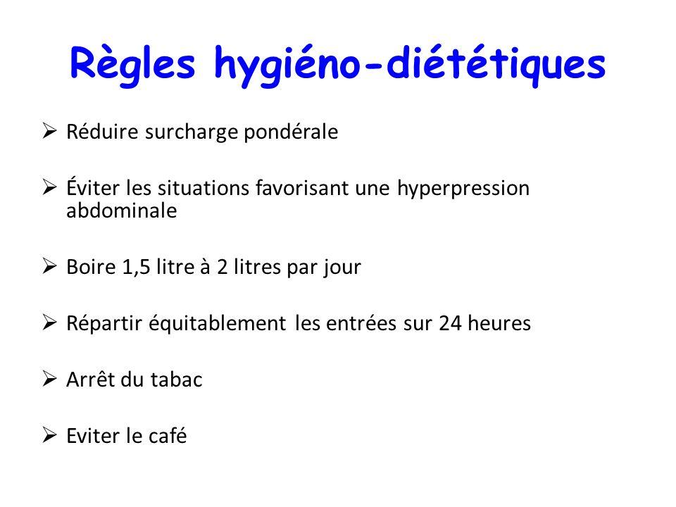 Règles hygiéno-diététiques Réduire surcharge pondérale Éviter les situations favorisant une hyperpression abdominale Boire 1,5 litre à 2 litres par jo