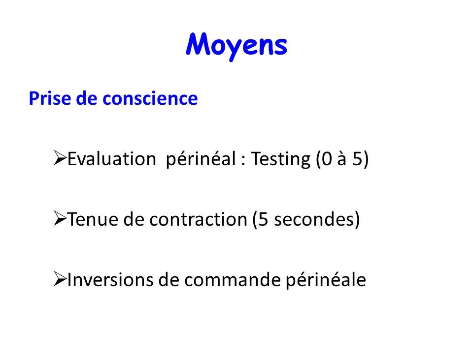 Moyens Prise de conscience Evaluation périnéal : Testing (0 à 5) Tenue de contraction (5 secondes) Inversions de commande périnéale