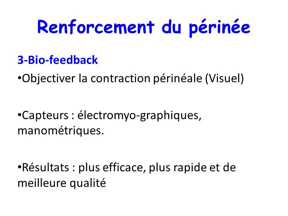 Renforcement du périnée 3-Bio-feedback Objectiver la contraction périnéale (Visuel) Capteurs : électromyo-graphiques, manométriques. Résultats : plus
