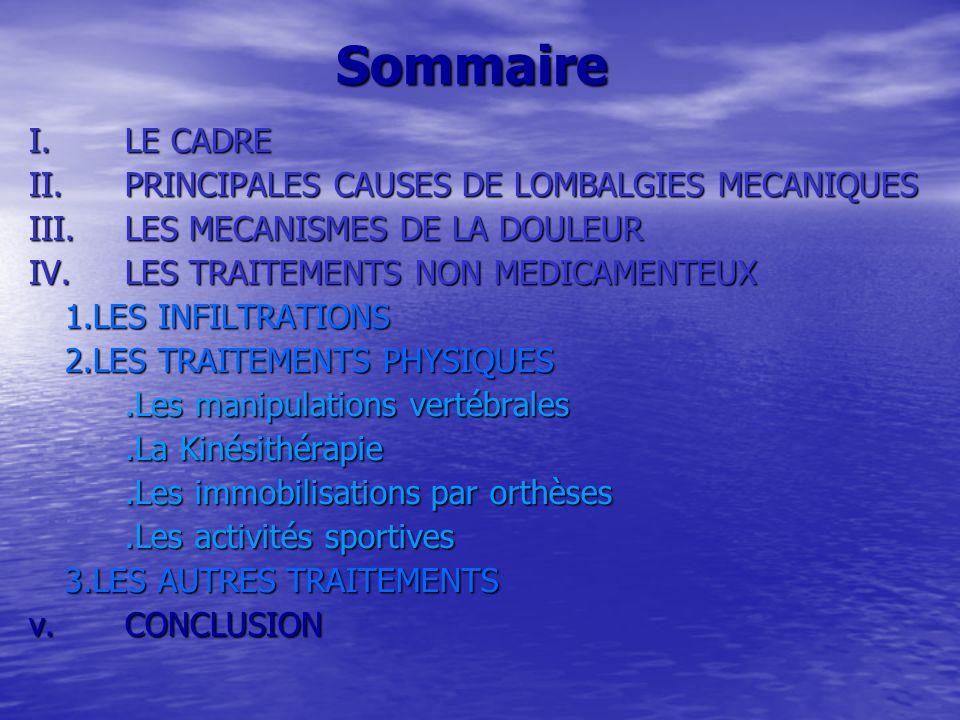 Sommaire I.LE CADRE II.PRINCIPALES CAUSES DE LOMBALGIES MECANIQUES III.LES MECANISMES DE LA DOULEUR IV.LES TRAITEMENTS NON MEDICAMENTEUX 1.LES INFILTRATIONS 2.LES TRAITEMENTS PHYSIQUES.Les manipulations vertébrales.La Kinésithérapie.Les immobilisations par orthèses.Les activités sportives 3.LES AUTRES TRAITEMENTS v.CONCLUSION