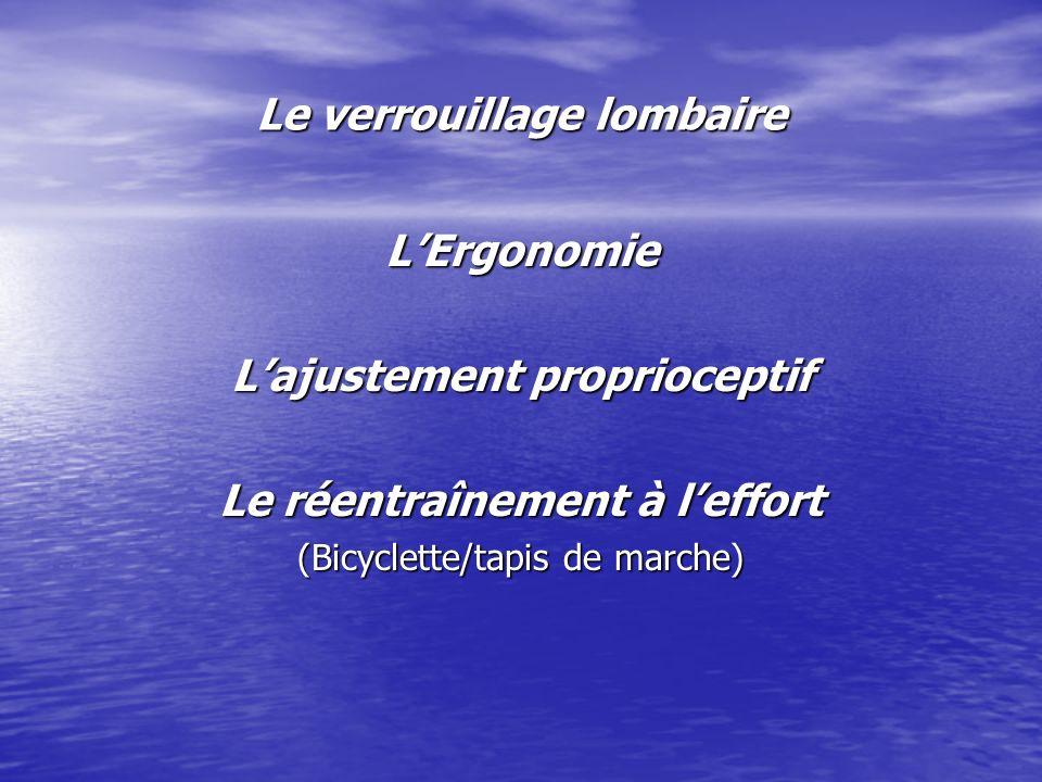 Le verrouillage lombaire LErgonomie Lajustement proprioceptif Le réentraînement à leffort (Bicyclette/tapis de marche)