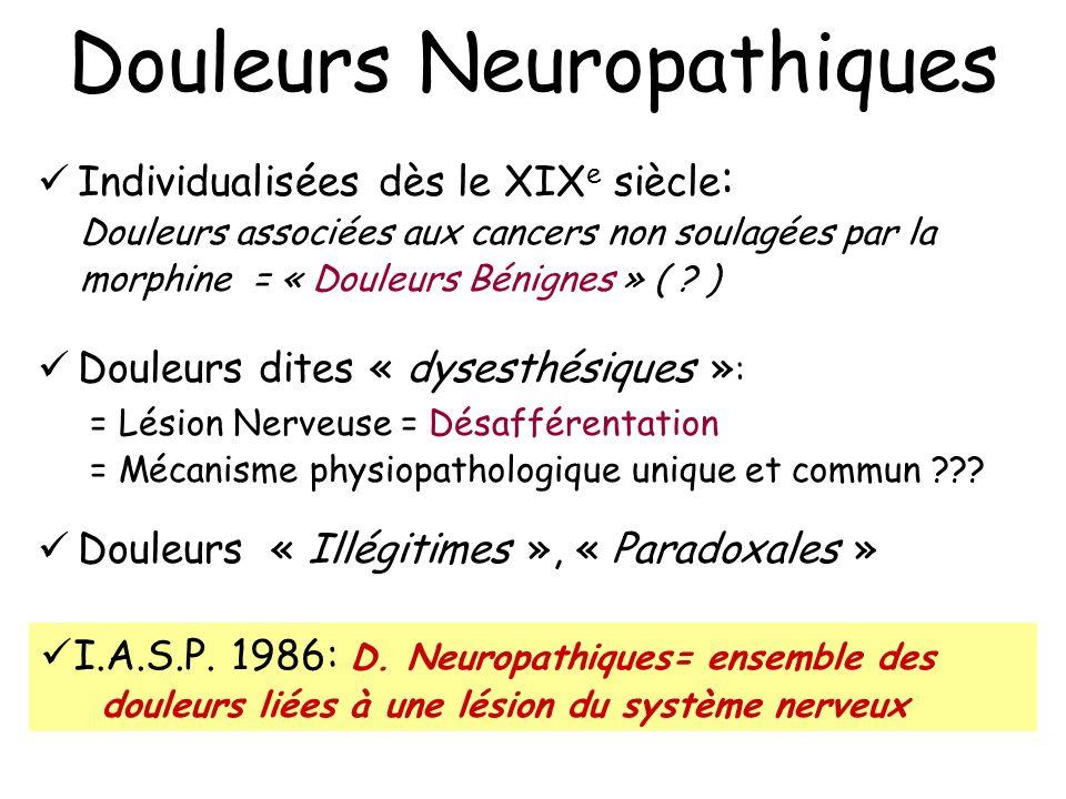 Douleurs Neuropathiques Individualisées dès le XIX e siècle : Douleurs associées aux cancers non soulagées par la morphine = « Douleurs Bénignes » ( ?