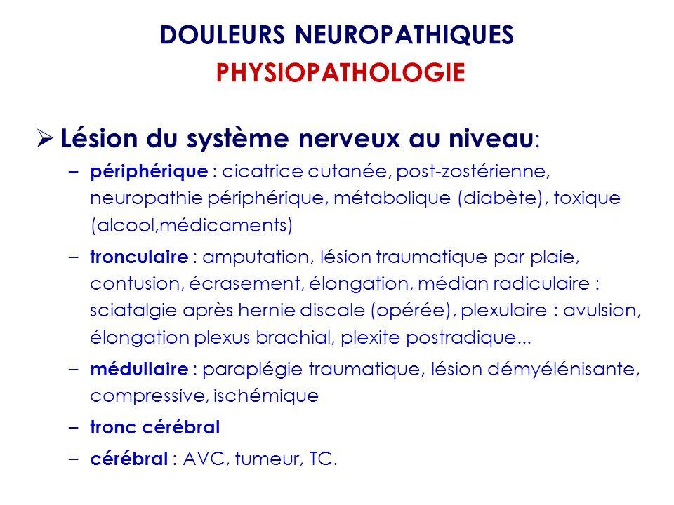 Lésion du système nerveux au niveau : – périphérique : cicatrice cutanée, post-zostérienne, neuropathie périphérique, métabolique (diabète), toxique (