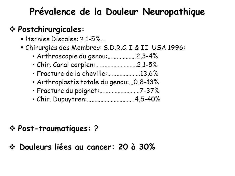 Prévalence de la Douleur Neuropathique Postchirurgicales: Hernies Discales: ? 1-5%... Chirurgies des Membres: S.D.R.C. I & II USA 1996: Arthroscopie d