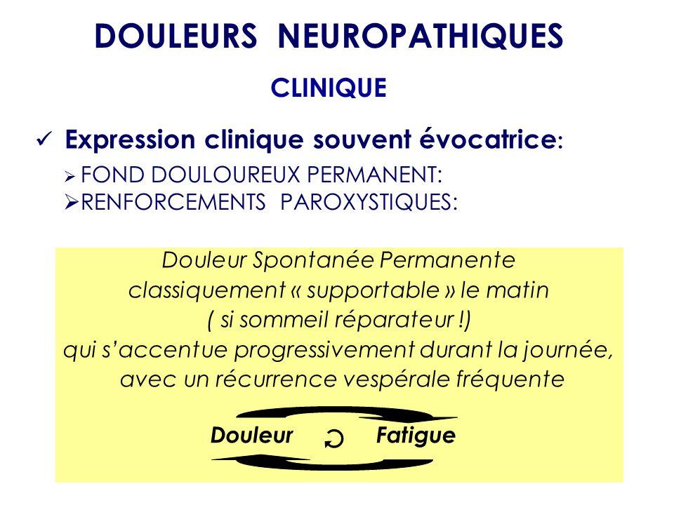 FOND DOULOUREUX PERMANENT: RENFORCEMENTS PAROXYSTIQUES: DOULEURS NEUROPATHIQUES CLINIQUE Expression clinique souvent évocatrice : Douleur Spontanée Pe