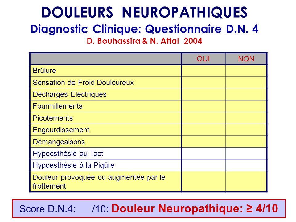 Score D.N.4: /10: Douleur Neuropathique: 4/10 DOULEURS NEUROPATHIQUES Diagnostic Clinique: Questionnaire D.N. 4 D. Bouhassira & N. Attal 2004 OUINON B