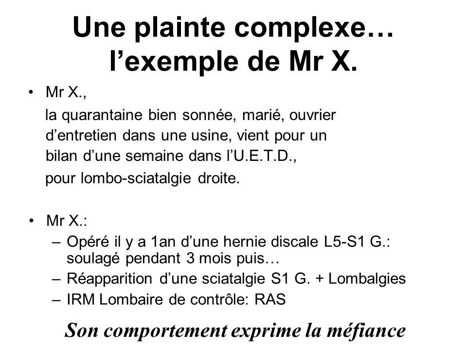 Une plainte complexe… lexemple de Mr X. Mr X., la quarantaine bien sonnée, marié, ouvrier dentretien dans une usine, vient pour un bilan dune semaine