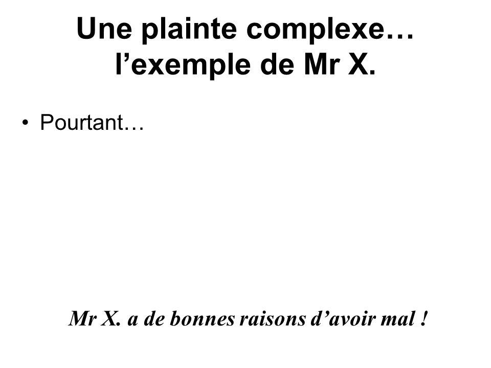 Une plainte complexe… lexemple de Mr X. Pourtant… Mr X. a de bonnes raisons davoir mal !