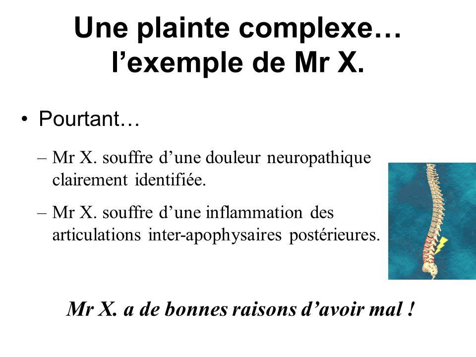 Une plainte complexe… lexemple de Mr X. Pourtant… Mr X. a de bonnes raisons davoir mal ! –Mr X. souffre dune inflammation des articulations inter-apop