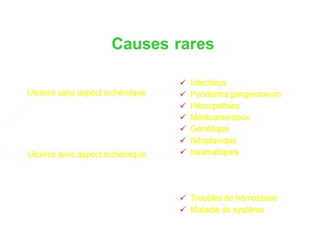 Causes rares Ulcères sans aspect ischémique Ulcères avec aspect ischémique Infectieux Pyoderma gangrenosum Hémopathies Médicamenteux Génétique Néoplasique traumatiques Troubles de hémostase Maladie de système