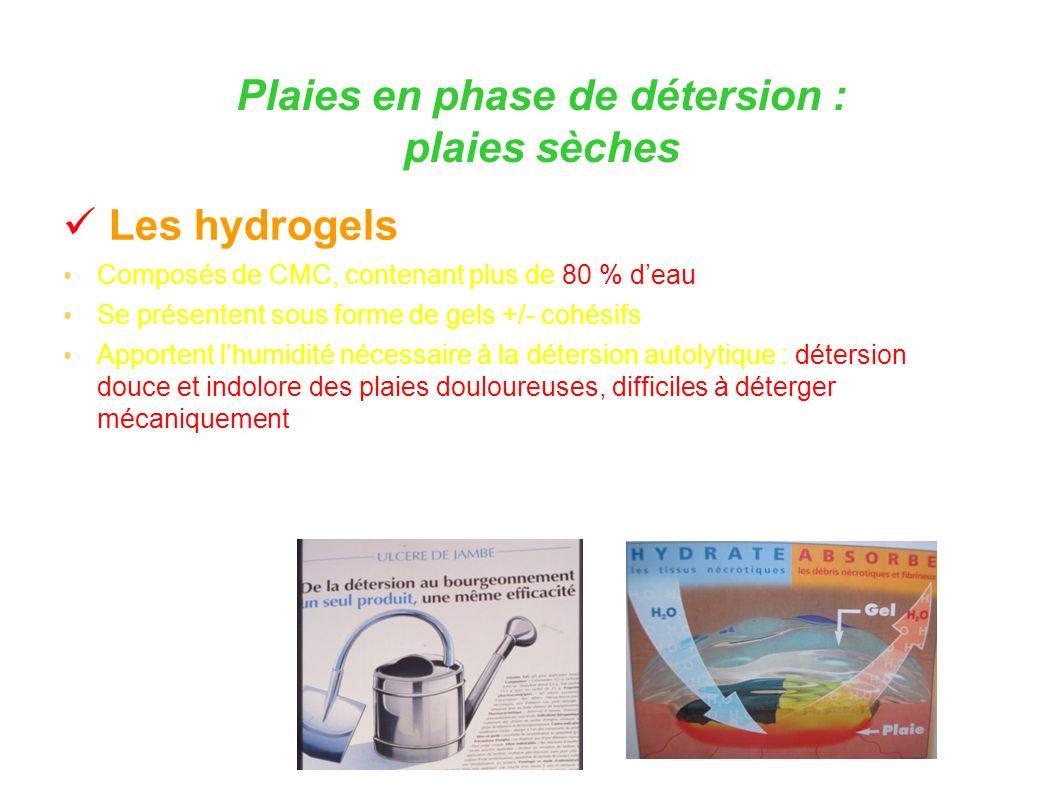 Les hydrogels Composés de CMC, contenant plus de 80 % deau Se présentent sous forme de gels +/- cohésifs Apportent lhumidité nécessaire à la détersion autolytique : détersion douce et indolore des plaies douloureuses, difficiles à déterger mécaniquement