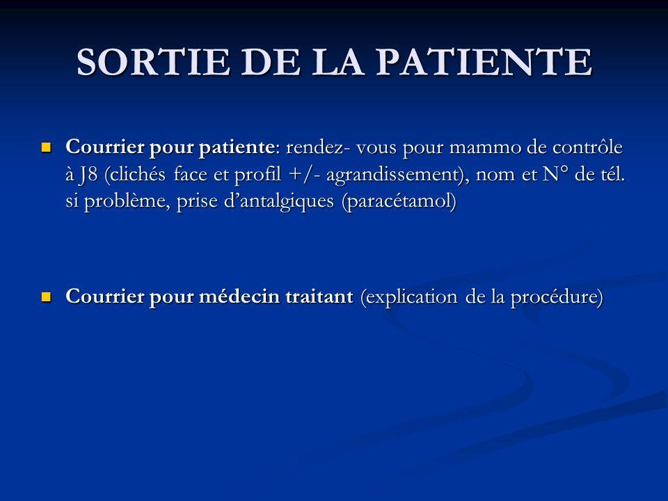 SORTIE DE LA PATIENTE Courrier pour patiente: rendez- vous pour mammo de contrôle à J8 (clichés face et profil +/- agrandissement), nom et N° de tél.