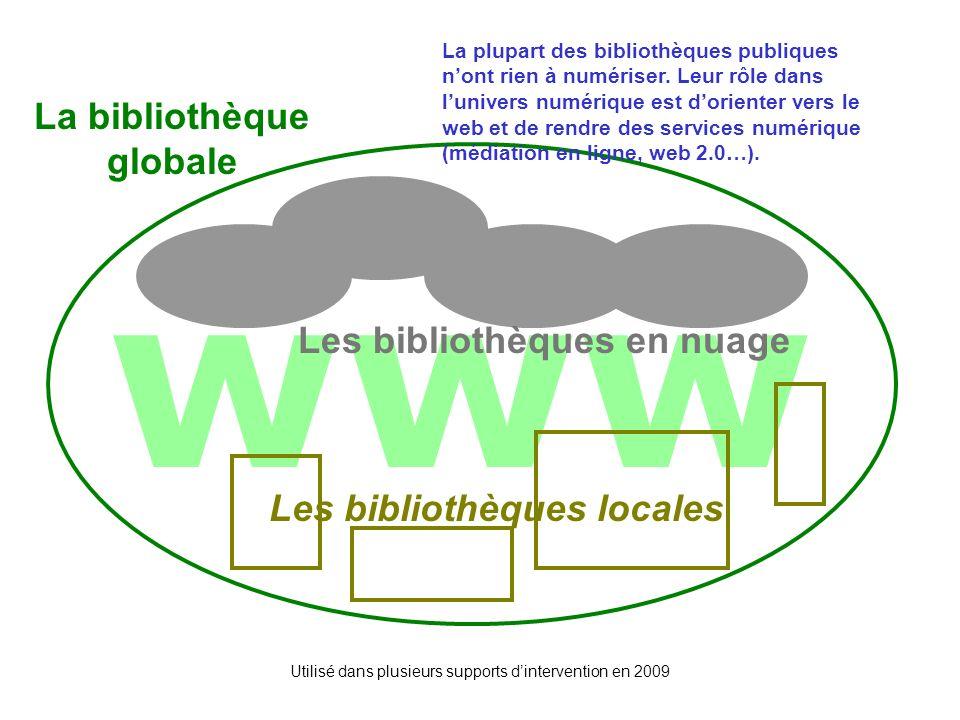 Utilisé dans plusieurs supports dintervention en 2009 www Les bibliothèques locales Les bibliothèques en nuage Les 3 cercles La bibliothèque globale