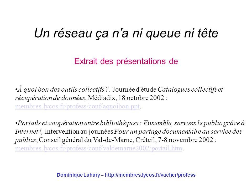 Dominique Lahary – http://membres.lycos.fr/vacher/profess Un réseau ça na ni queue ni tête Extrait des présentations de À quoi bon des outils collecti