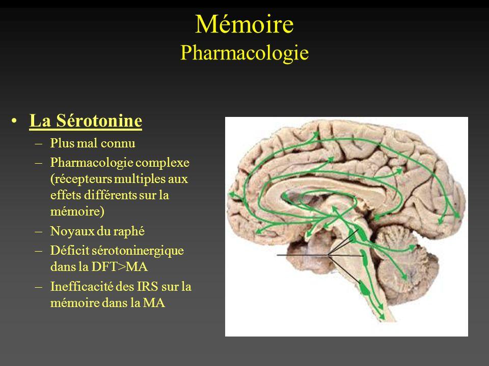 Mémoire Pharmacologie La Sérotonine –Plus mal connu –Pharmacologie complexe (récepteurs multiples aux effets différents sur la mémoire) –Noyaux du rap