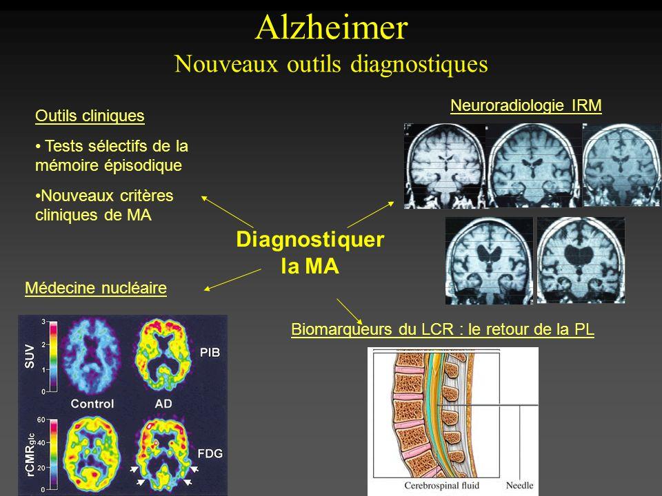 Alzheimer Nouveaux outils diagnostiques Diagnostiquer la MA Outils cliniques Tests sélectifs de la mémoire épisodique Nouveaux critères cliniques de M