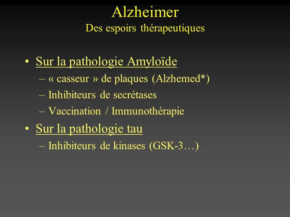 Sur la pathologie Amyloïde –« casseur » de plaques (Alzhemed*) –Inhibiteurs de secrétases –Vaccination / Immunothérapie Sur la pathologie tau –Inhibit