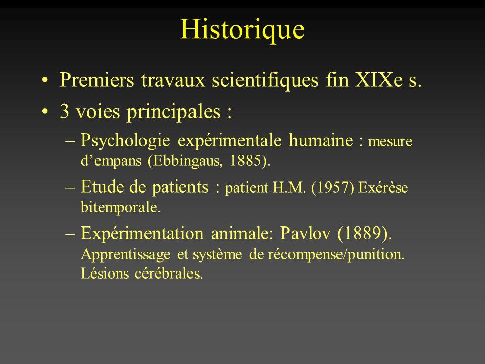 Historique Premiers travaux scientifiques fin XIXe s. 3 voies principales : –Psychologie expérimentale humaine : mesure dempans (Ebbingaus, 1885). –Et