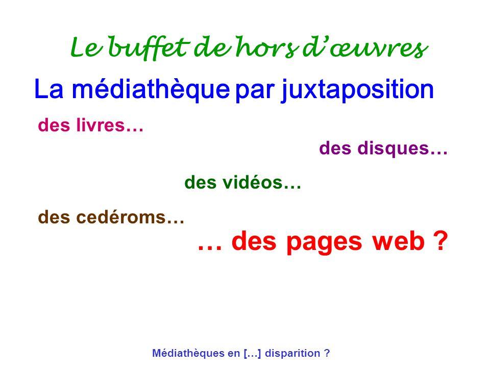Médiathèques en […] disparition ? Le buffet de hors dœuvres des livres… des disques… des vidéos… des cedéroms… … des pages web ? La médiathèque par ju
