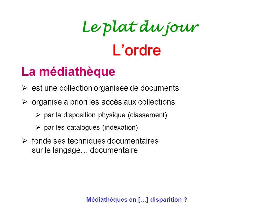 Médiathèques en […] disparition ? Le plat du jour La médiathèque est une collection organisée de documents organise a priori les accès aux collections