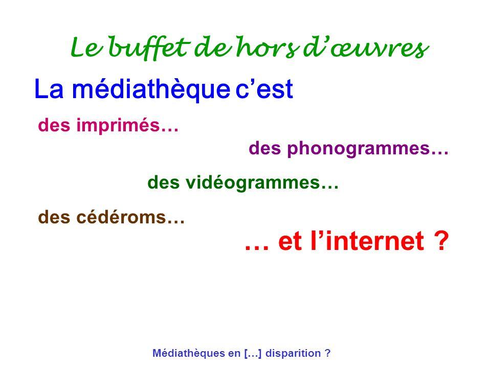 Médiathèques en […] disparition ? Le buffet de hors dœuvres des imprimés… des phonogrammes… des vidéogrammes… des cédéroms… … et linternet ? La médiat