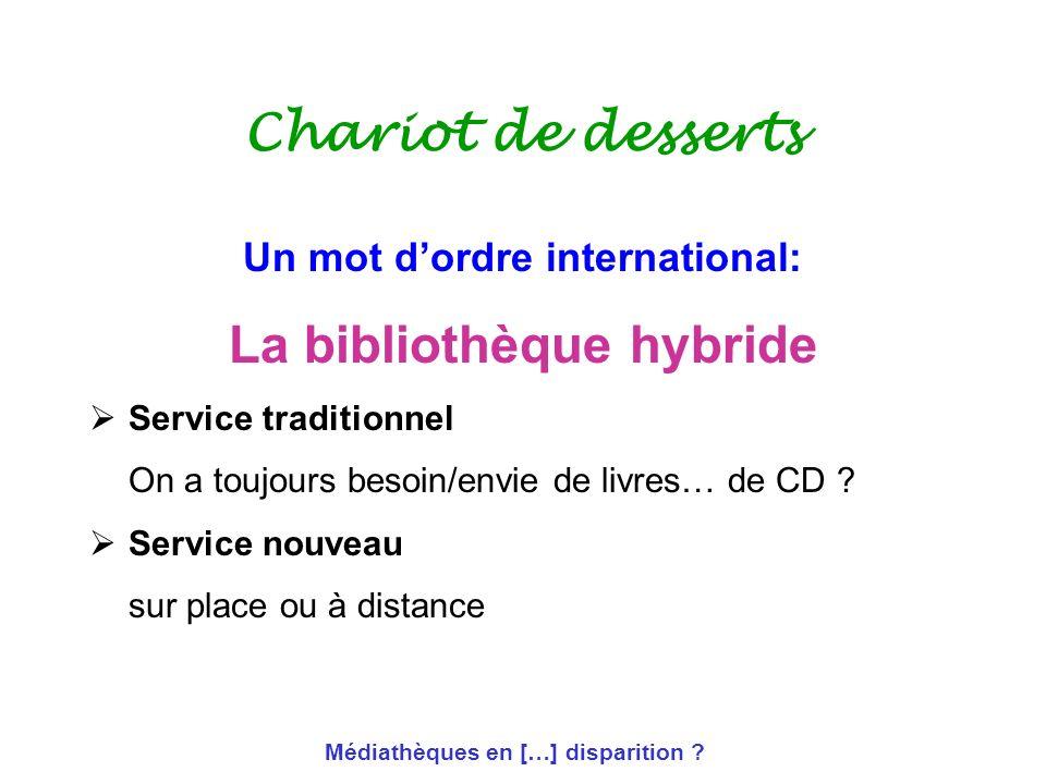 Médiathèques en […] disparition ? Chariot de desserts Un mot dordre international: La bibliothèque hybride Service traditionnel On a toujours besoin/e