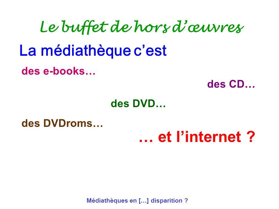Médiathèques en […] disparition ? Le buffet de hors dœuvres des e-books… des CD… des DVD… des DVDroms… … et linternet ? La médiathèque cest