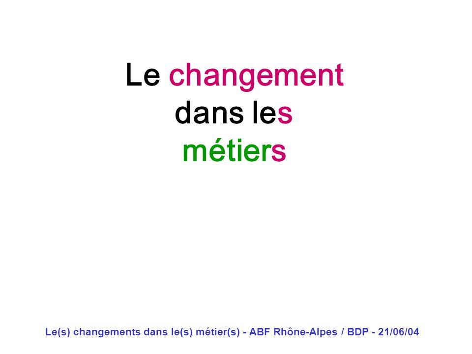 Le(s) changements dans le(s) métier(s) - ABF Rhône-Alpes / BDP - 21/06/04 Le changement dans les métiers Dominique Lahary décoiffeur pour dames domini