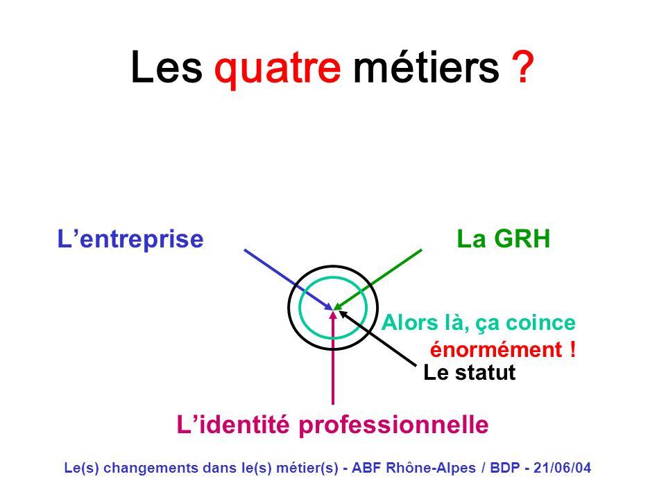 Le(s) changements dans le(s) métier(s) - ABF Rhône-Alpes / BDP - 21/06/04 Les quatre métiers ? Lentreprise La GRH Lidentité professionnelle Alors là,