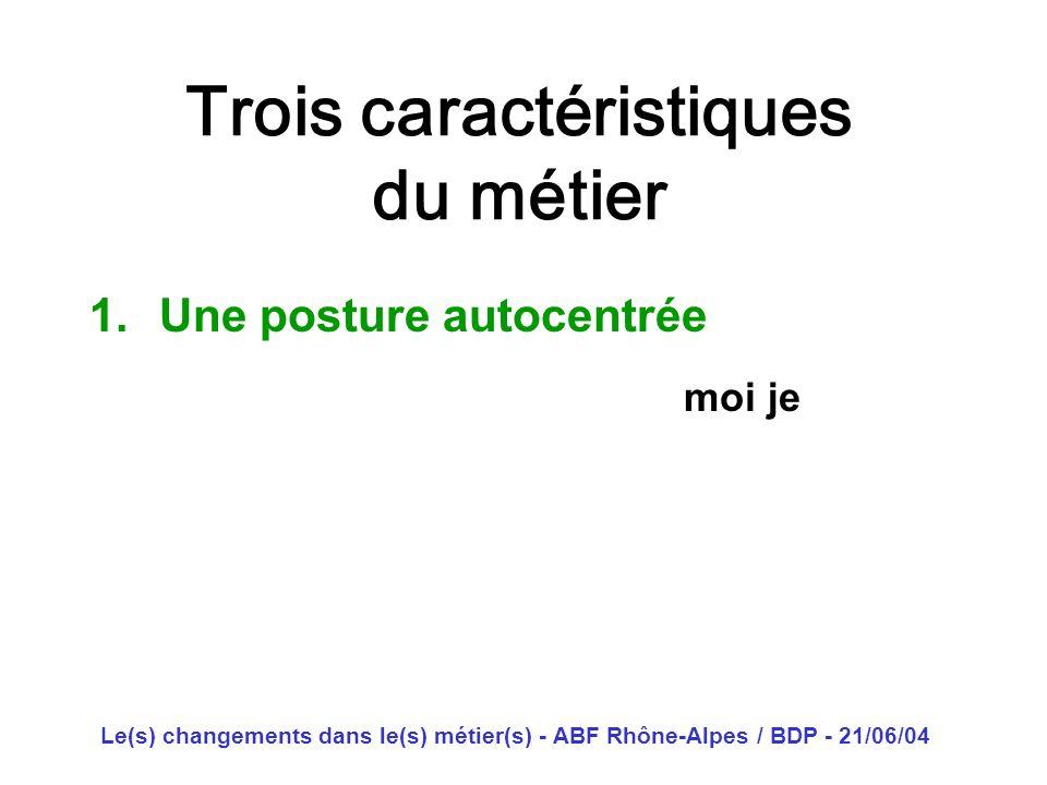 Le(s) changements dans le(s) métier(s) - ABF Rhône-Alpes / BDP - 21/06/04 Trois caractéristiques du métier 1.Une posture autocentrée moi je