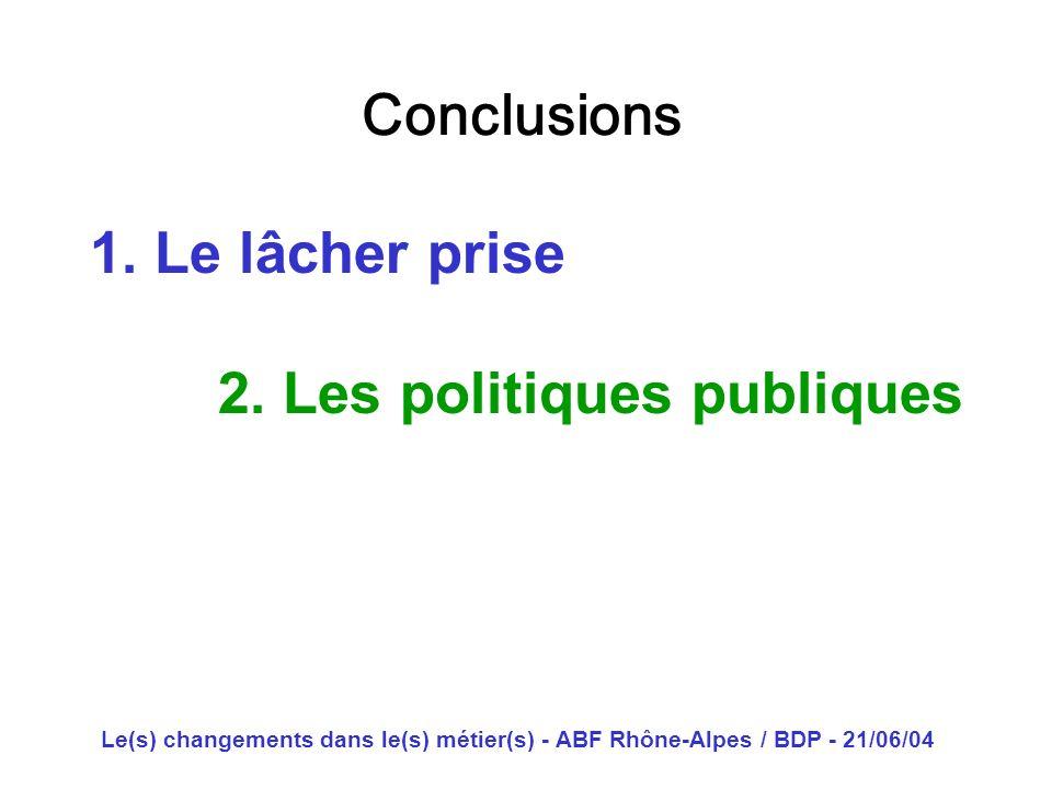 Le(s) changements dans le(s) métier(s) - ABF Rhône-Alpes / BDP - 21/06/04 Conclusions 1. Le lâcher prise 2. Les politiques publiques