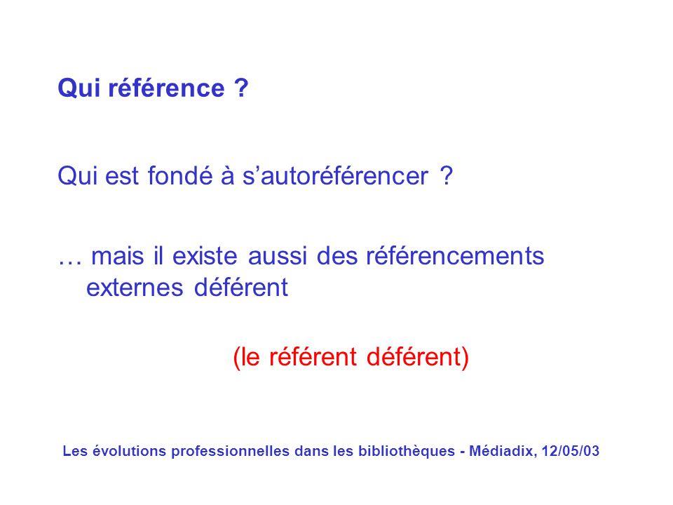 Les évolutions professionnelles dans les bibliothèques - Médiadix, 12/05/03 Qui est fondé à sautoréférencer ? Qui référence ? … mais il existe aussi d