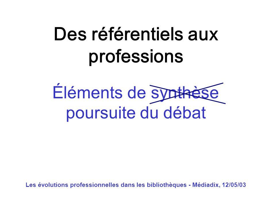Les évolutions professionnelles dans les bibliothèques - Médiadix, 12/05/03 Qui est fondé à sautoréférencer .