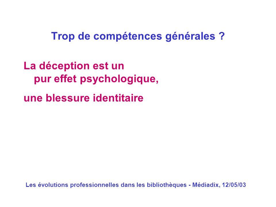 Les évolutions professionnelles dans les bibliothèques - Médiadix, 12/05/03 La déception est un pur effet psychologique, une blessure identitaire Trop