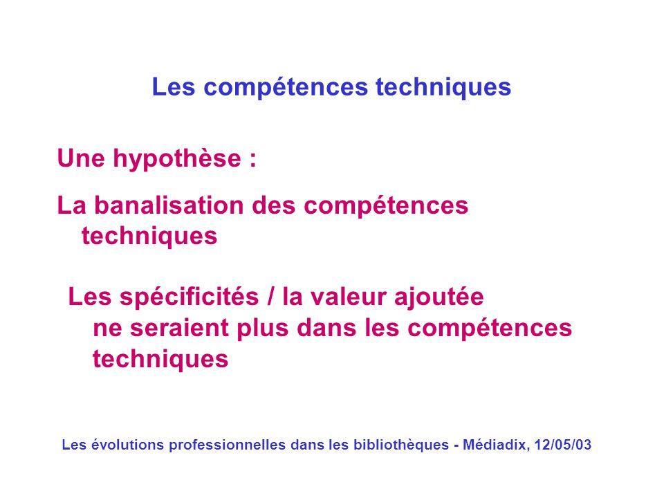 Les évolutions professionnelles dans les bibliothèques - Médiadix, 12/05/03 Une hypothèse : La banalisation des compétences techniques Les compétences