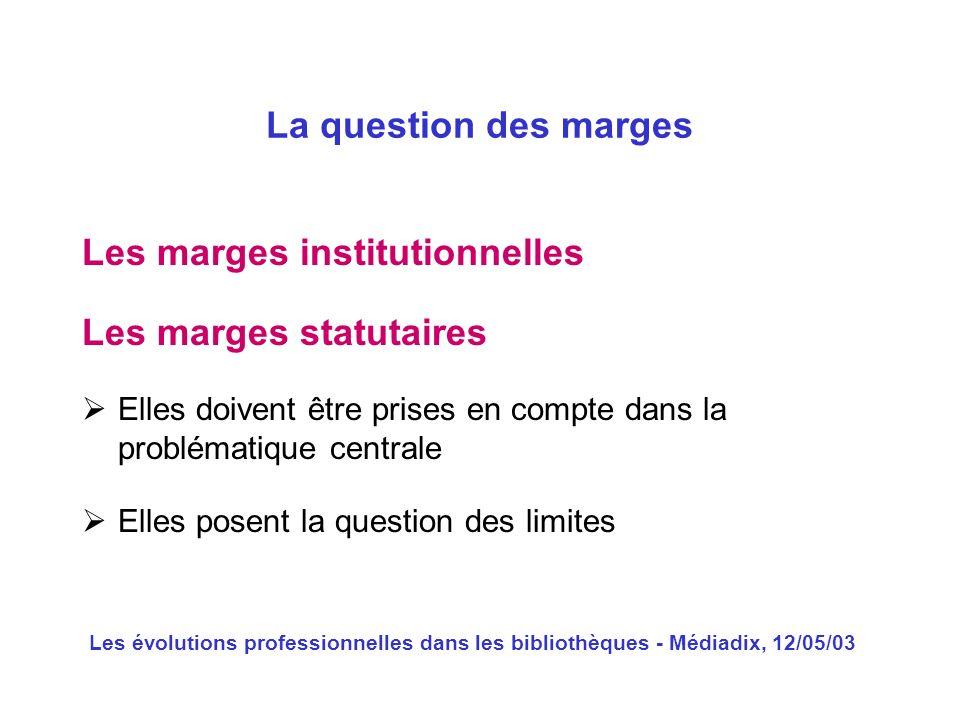 Les évolutions professionnelles dans les bibliothèques - Médiadix, 12/05/03 Les marges institutionnelles La question des marges Les marges statutaires
