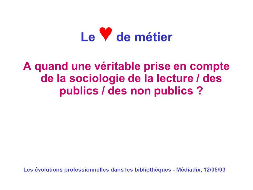 Les évolutions professionnelles dans les bibliothèques - Médiadix, 12/05/03 A quand une véritable prise en compte de la sociologie de la lecture / des