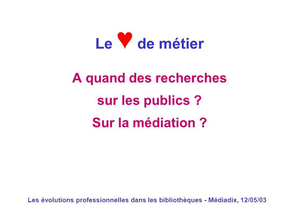 Les évolutions professionnelles dans les bibliothèques - Médiadix, 12/05/03 A quand des recherches sur les publics ? Sur la médiation ? Le de métier