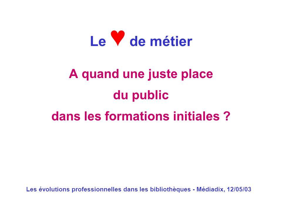 Les évolutions professionnelles dans les bibliothèques - Médiadix, 12/05/03 A quand une juste place du public dans les formations initiales ? Le de mé