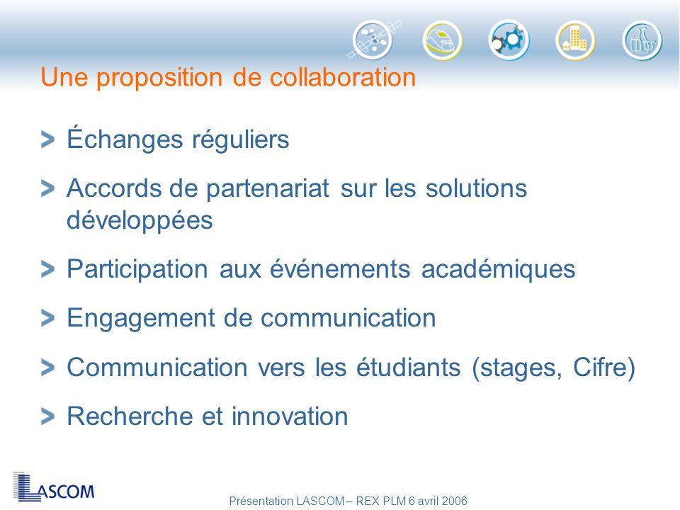 Présentation LASCOM – REX PLM 6 avril 2006 Une proposition de collaboration Échanges réguliers Accords de partenariat sur les solutions développées Pa