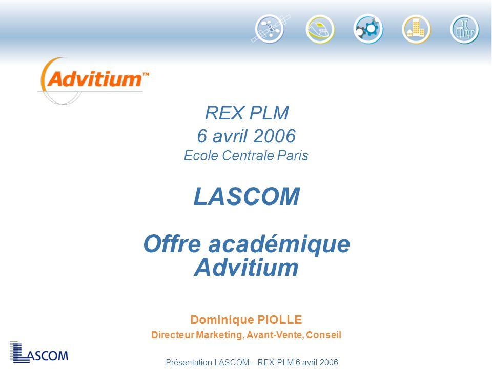 LASCOM Offre académique Advitium Dominique PIOLLE Directeur Marketing, Avant-Vente, Conseil REX PLM 6 avril 2006 Ecole Centrale Paris