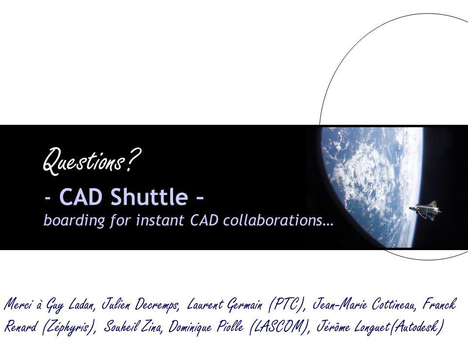 REX PLM 2008 – 20/03/200815 Questions? - CAD Shuttle – boarding for instant CAD collaborations… Merci à Guy Ladan, Julien Decremps, Laurent Germain (P