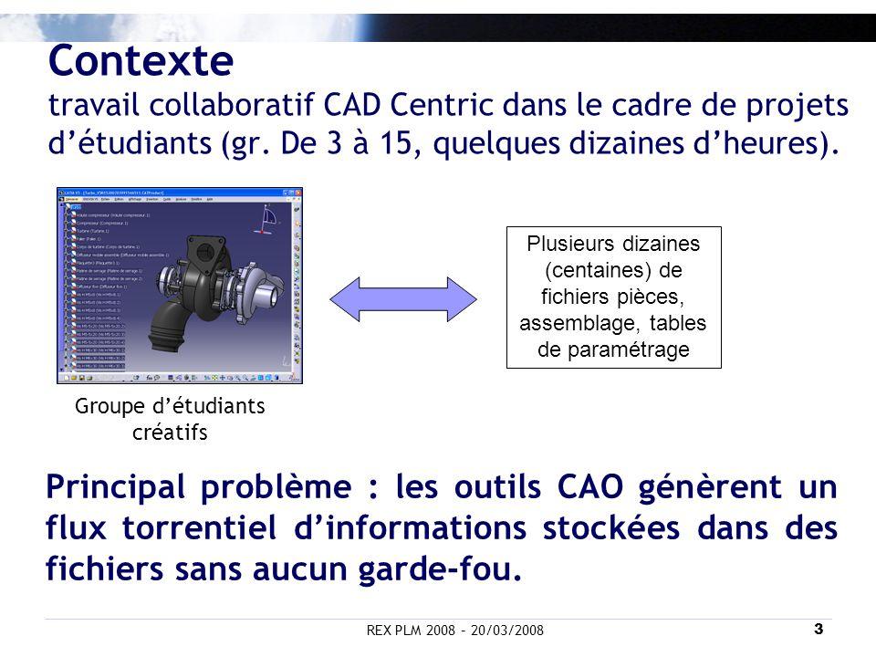 REX PLM 2008 – 20/03/20083 Contexte travail collaboratif CAD Centric dans le cadre de projets détudiants (gr. De 3 à 15, quelques dizaines dheures). G