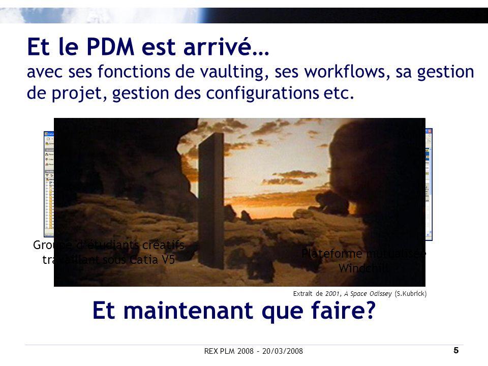 REX PLM 2008 – 20/03/20085 Et le PDM est arrivé… avec ses fonctions de vaulting, ses workflows, sa gestion de projet, gestion des configurations etc.
