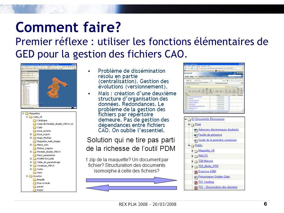 REX PLM 2008 – 20/03/20086 Comment faire? Premier réflexe : utiliser les fonctions élémentaires de GED pour la gestion des fichiers CAO. 1 zip de la m