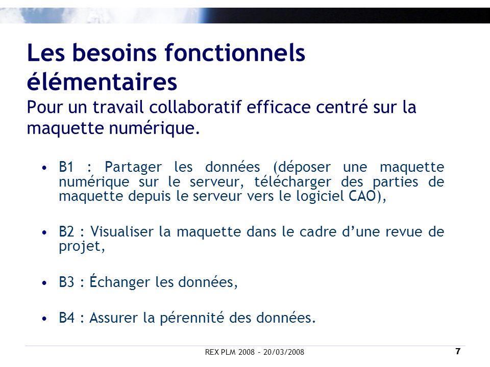 REX PLM 2008 – 20/03/20087 Les besoins fonctionnels élémentaires Pour un travail collaboratif efficace centré sur la maquette numérique. B1 : Partager