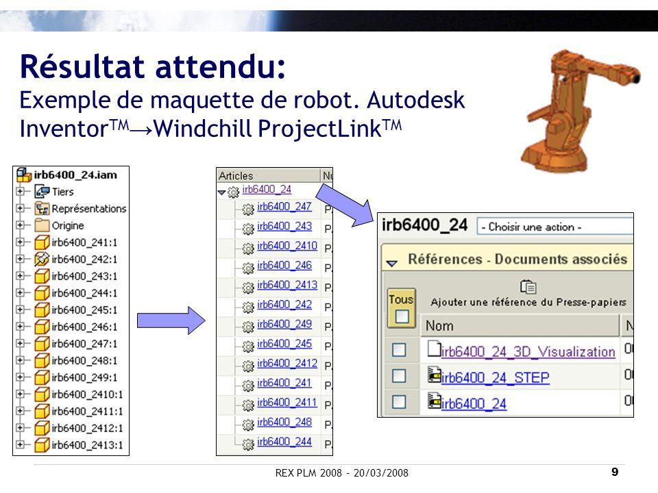 REX PLM 2008 – 20/03/20089 Résultat attendu: Exemple de maquette de robot. Autodesk Inventor TM Windchill ProjectLink TM