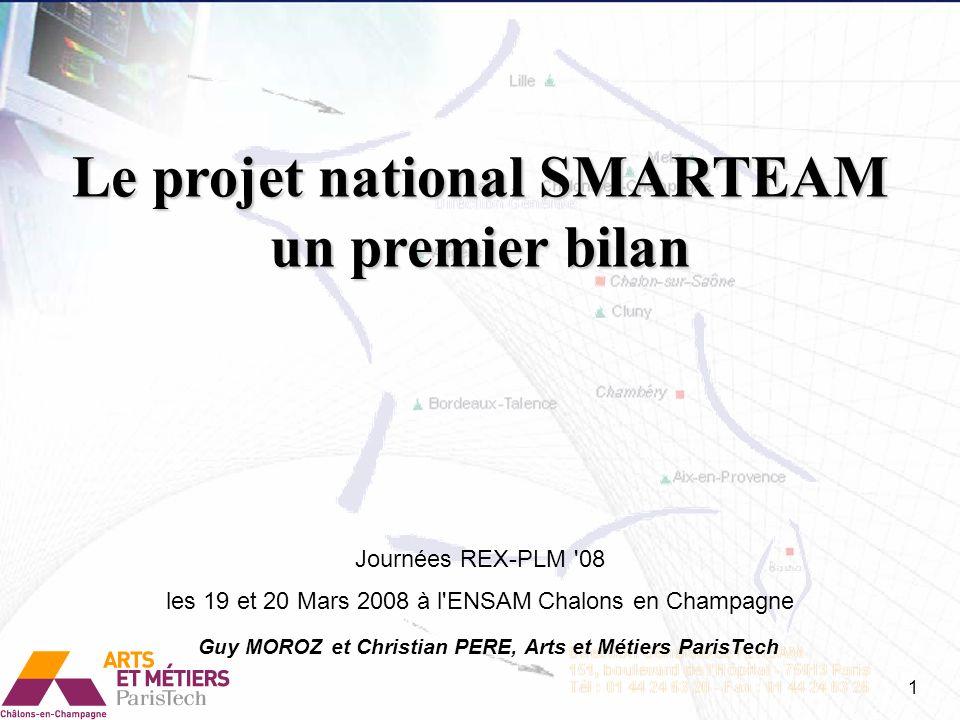 Le projet national SMARTEAM un premier bilan Journées REX-PLM '08 les 19 et 20 Mars 2008 à l'ENSAM Chalons en Champagne Guy MOROZ et Christian PERE, A