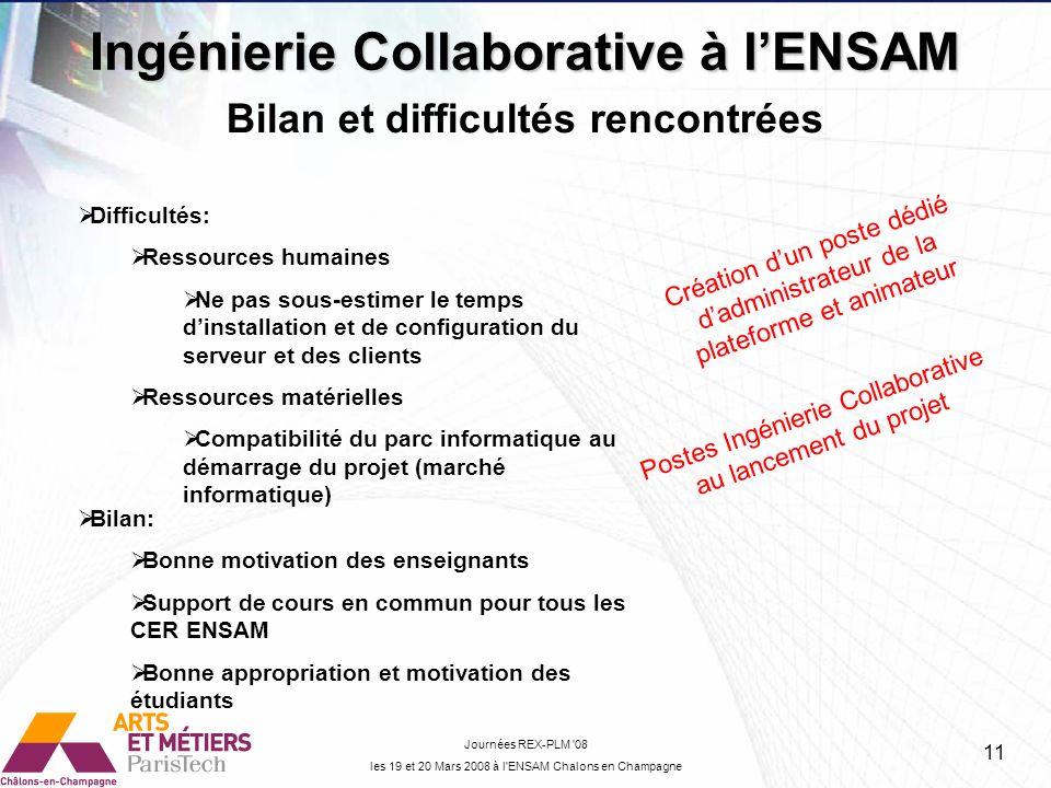 Ingénierie Collaborative à lENSAM Journées REX-PLM '08 les 19 et 20 Mars 2008 à l'ENSAM Chalons en Champagne Bilan et difficultés rencontrées Difficul