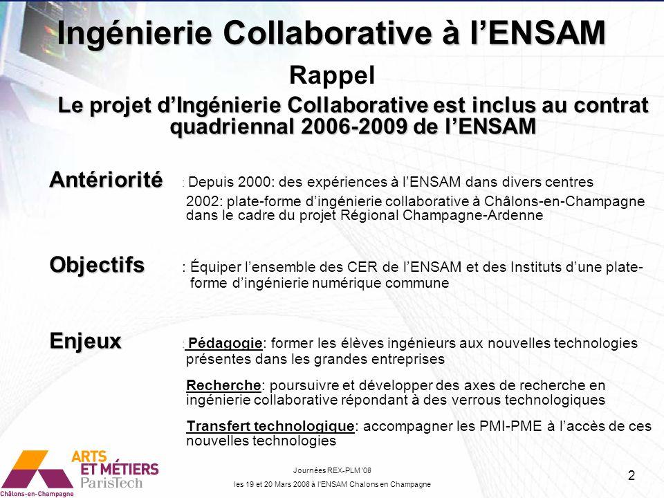 Le projet dIngénierie Collaborative est inclus au contrat quadriennal 2006-2009 de lENSAM Antériorité Antériorité : Depuis 2000: des expériences à lEN